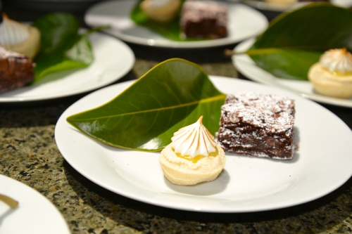 Lemon curd tartlet with toasted meringue and dense dark chocolate brownie...paired well with two teas