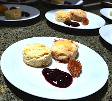 Each guest received two warm scones, right out of the oven...one savory with crispy prosciutto and the other biscuity scone with jam
